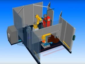 Робототехнический комплекс РК756 с двухпозиционным поворотным столом и вращателями изделий.