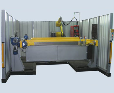 A robot system RK754 for welding of machine components